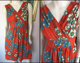 Vintage 70s Red Blue Green Psychedelic Flower Print Summer Midi Dress.M.Bust 38.Waist 30.