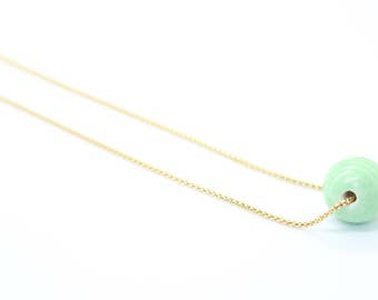 Green ball necklace, Round ball necklace, Gold necklace, Delicate necklace, Dainty necklace, Simple necklace, Minimalist necklace