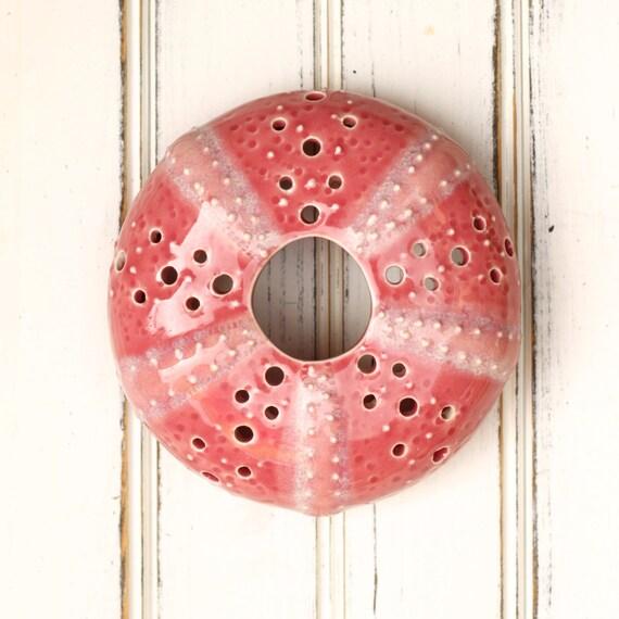 medium urchin wall hanging, urchin tabletop sculpture,  rose pink