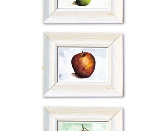 DIGITAL Watercolor painting-fruit-Apple, orange and pear postcard sized kitchen art-3 piece set-print your own-instant download