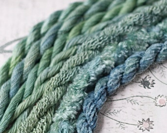 Silk  Embroidery Thread for Needlework, Embroidery, Stumpwork hand dyed in Sea Green
