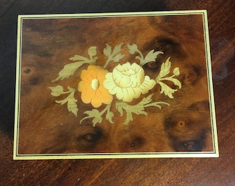 Vintage Sankyo Music Box, Floral box, plays Love Story, made in Italy, Inlaid wood music box