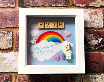 I Believe in Unicorns - Personalised Scrabble Lego Name Frame - Rainbows, Butterflies, Hearts