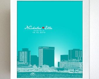 Anniversary Ideas / Norfolk Virginia Skyline One Year Anniversary Gift  / Custom Keepsake/ Any Cityscape Available