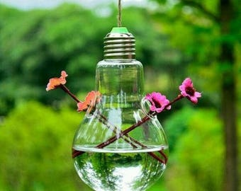 Hanging light bulb shaped vase / customize with flowers or plants