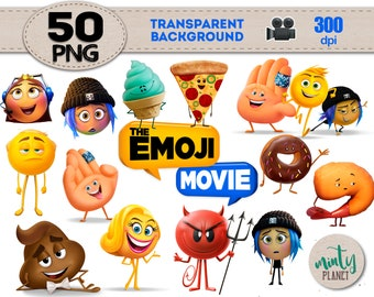 Emoji the Movie Clipart, Emoji PNG files, characters full quality, Emoji Clipart transparent background, instant download, PSN026