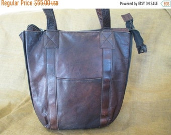 15% OFF SALE Grunge genuine vintage brown leather expandable shopper tote bag distress