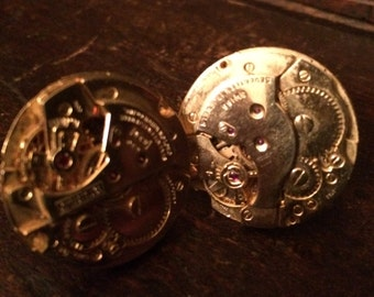 Mens Brevet Steampunk Cufflinks Gold Swiss Watch Movement Matching Men Steampunk Cufflinks Cuff Links Watch Cufflinks.