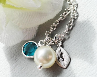 Swarovski Charm Pearl And Personalized Leaf Sterling Silver Necklace - Ideal For Brides Bridesmaids Wedding Party Bridesmaids Favor