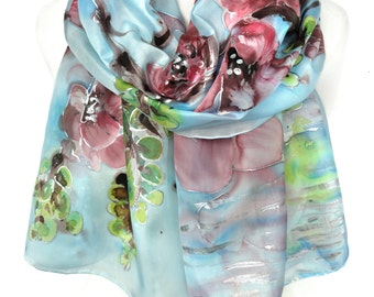 HandPaintScarf. Anniversary Birthday Gift for Her. Blue Pink Scarf. Lake Reflection. Genuine Silk Art. Silk Painting. 18x71in MADE to ORDER