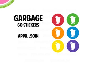 Garbage Utility Icon Stickers | 60 Kiss Cut Stickers | IC048