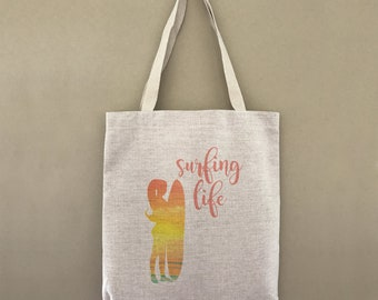 Custom Tote Bag Surfing Life Sunset Custom Customizable Personalized Gift For Her Beach Surfer Surf Ocean Waves Shopping Bag Bulk