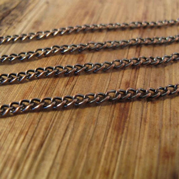 Ten  Feet of Antique Copper Chain, Dark Copper 2mm Curb Chain, Thin Chain for Making Jewelry, Vintage Jewelry (40099587)