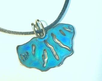 Finger lakes white bronze pendant, handmade jewelry, gift ideas, nature jewelry, lakes jewelry , bronze , blue green patina,
