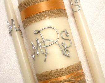 Burlap Wired Monogram Unity Candle Set, Initial Letters, Peach & Burlap Ribbon shown, Personalized in Wedding Colors