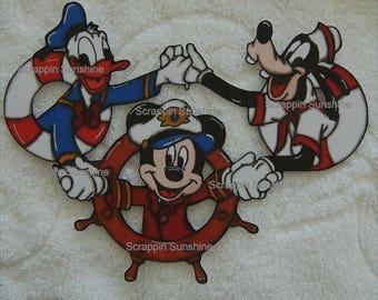 DISNEY Cruise Trio Mickey Goofy Donald - Printed Scrapbook Page Paper Piece - SSFF