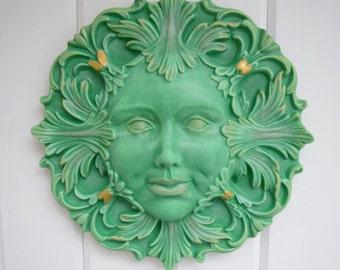 Green Lady - Green Man - Outdoor Decor - Art - Earthy - Zodiac - Virgo - Taurus - Capricorn - Mother Nature - Goddess - Feminist Art - Gift