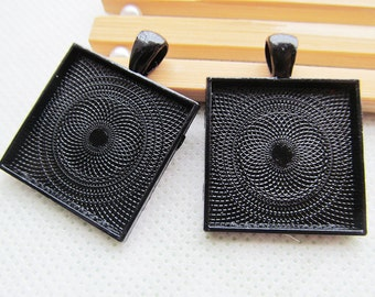 Black Square Base Setting Tray Bezel Pendant Charm/Finding,fit 25mm Square Cabochon/Cameo,DIY Accessory Jewellry Making