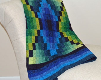 Blue and Green Diamonds Quilt