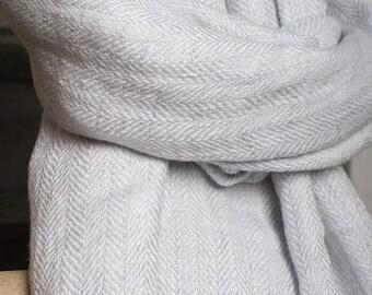 Pure 100% linen shawl Greyish white linen  shawl herringbone pattern