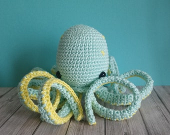 Octopus, amigurumi crocheted soft toy.
