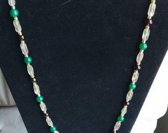 Garnet, Jade and Glass Bead Necklace