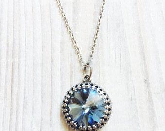 Kate Vintage Crown Swarovski Necklace in Blue Denim and Antiqued Silver