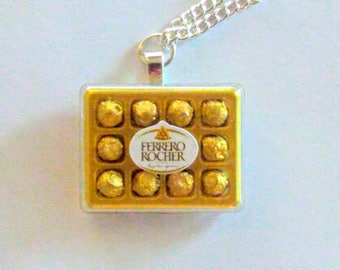 Ferrero Rocher Chocolate Necklace, Miniature Food Jewelry, Inedible Food Jewelry, Chocolate Candy Necklace, Kawaii Jewelry, Gifts for Her