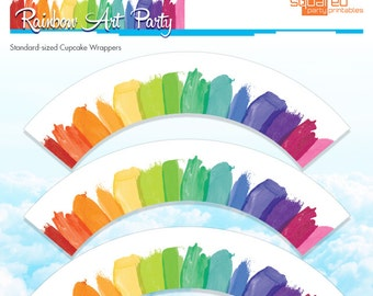 Rainbow Cupcake Wrappers - Rainbow Art Party Cupcake Wraps, Melted Crayon Art - Birthday DIY - Do-It-Yourself Printables -  Instant Download