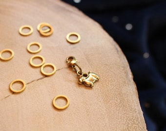 Golden Sheep - Stitch Markers for Knitting - Brass Closed Ring Markers - Knitting Notions - Clever Sheep Charm