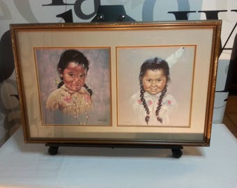 Vintage Dorothy Oxborough Paintings, Indigenous Art, Native Canadian Art, Lithographs of Indigenous Children    FREE SHIPPING