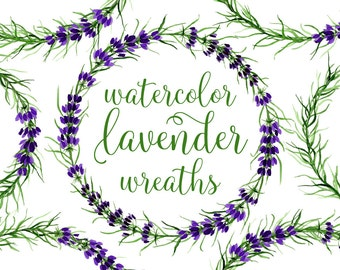 Lavender Wreaths Clipart - Watercolor Lavender Seamless Pattern - Lavender Brunches Clipart - Botanical Wreaths Png Floral Wreaths Clip Art