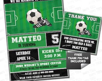 Soccer-Football Birthday Party Printable Invitation with FREE Thank you Tag-DIY Digital File-Sports Birthday Invitation -You Print