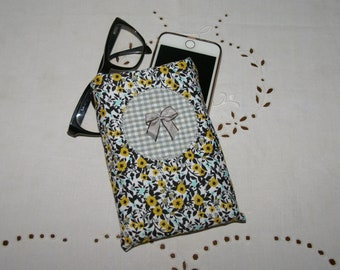 Protects phone or case sunglasses black, green yellow and applied flowers grey gingham