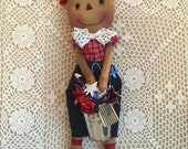 Dapper Raggedy Andy/primitive raggedy andy doll/raggedy dolls/handmade dolls/ patriotic 4th of july americana     faap