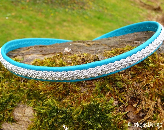 ASGARD Leather Necklace Viking Choker Collar in Turquoise Reindeer and Pewter Braid - Custom Handmade Traditional Swedish Sami Jewelry