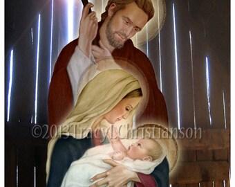 The Holy Family, St. Joseph, Virgin Mary and Infant Jesus Catholic Print (D) #4019