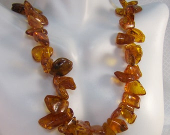 "Natural Honey Amber Graduated Nugget 26"" Necklace"