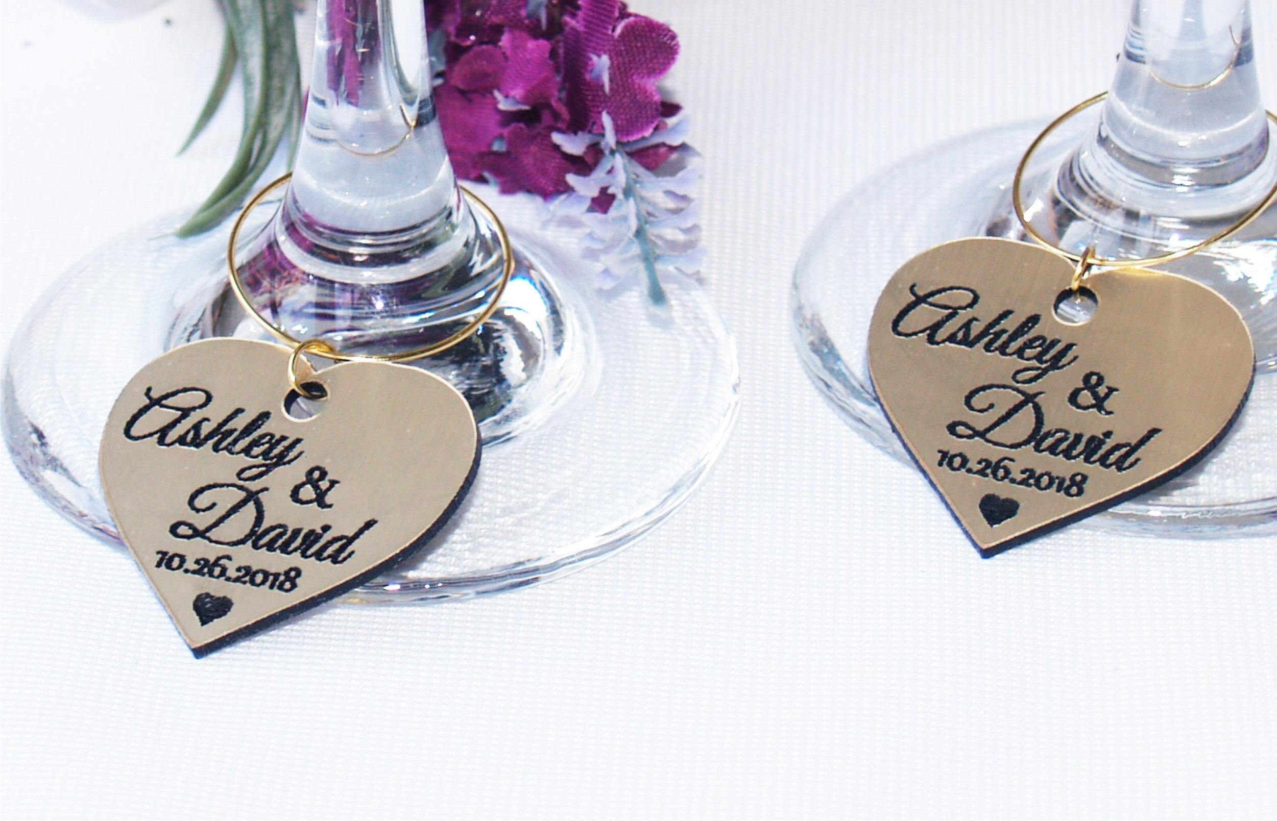 Wedding wine charms, Anniversary wine charms, Wine glass charms ...