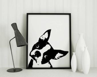 Boston Terrier Art Print, Wall decor, pet lover gift, Boston Terrier Silhouette, Modern, black and white, dog