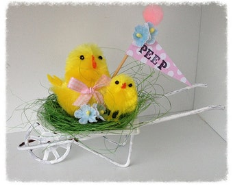 Easter Decoration Shabby Chic Easter Peeps in a Wheel Barrow Easter Ornament
