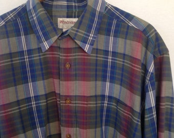 1990s plaid button front shirt by Windridge