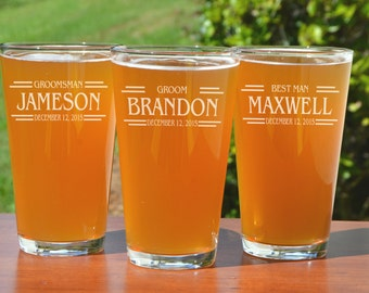 Pint Glasses Wedding, Set of 5, Personalized Groomsmen Gifts, Best Man Gift, Gifts for Men, Wedding Party, Groomsman Beer Glass, Groom Gift