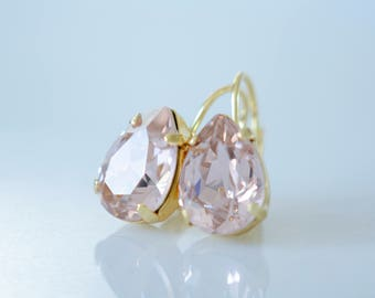 Blush Pink Earrings, Blush Teardrop Earrings, Blush Pink Drop Earrings