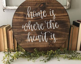 Home Is Where The Heart Is - Wood Sign