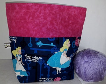 Alice in Wonderland, Cheshire Cat, Pink Flamingos - Off w/Her Head, Medium or Large Wedge Project Bag, Choice of Zipper or Drawstring, Tote
