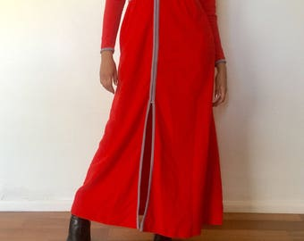 80s Red Long Robe Long Sleeves by  Space Age Size S M by Vassarette