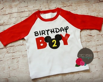 Mickey Mouse Birthday Shirt , Mickey Mouse Birthday Shirt with Number Birthday Boy