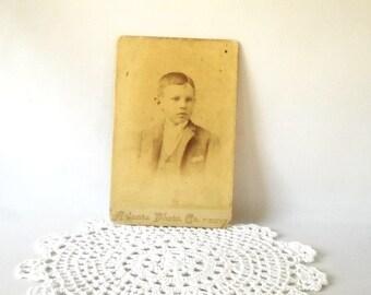 Vintage Photograph Cabinet Photo Antique Cab Card Paper Ephemera Twins Boy Sepia Black & White Photograph Instant Ancestors