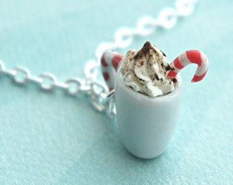 peppermint mocha necklace- candy cane, coffee necklace, mocha necklace, holiday necklace